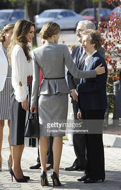 Queen Rania Queen Letizia and Margarita Salas attend Molecular Biology Center 'Severo Ochoa' at Autonoma University on November 20 2015 in Madrid...