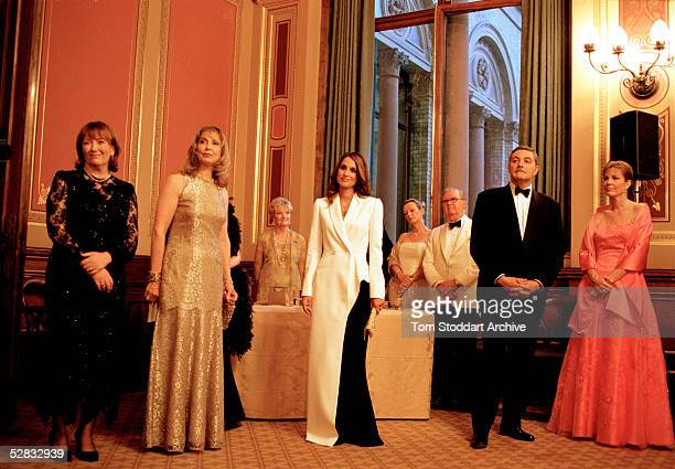 Queen Rania wearing a JeanPaul Gaultier evening gown photographed at the Red Cross gala evening during her visit to London in June Queen Rania...