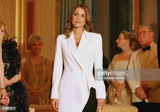 Queen Rania wearing a Jean-Paul Gaultier evening gown photographed at the Red Cross gala evening during her visit to London in June. Queen Rania...