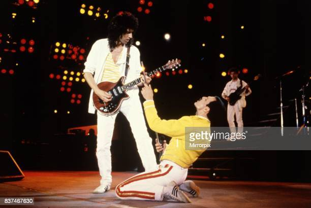 Queen Rock Group Freddie Mercury and Brian May on stage Queen in concert at Wembley Stadium