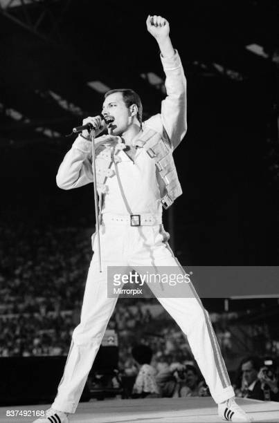 Queen Rock Group Freddie Mercury Brian May John Deacon and Roger Taylor Queen in concert at Wembley Stadium