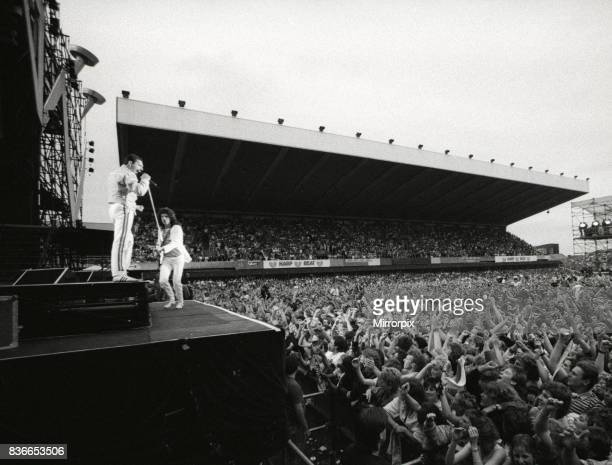 Queen Rock Group Freddie Mercury Brian May John Deacon Roger Taylor in concert at St James Park in Newcastle July 1986