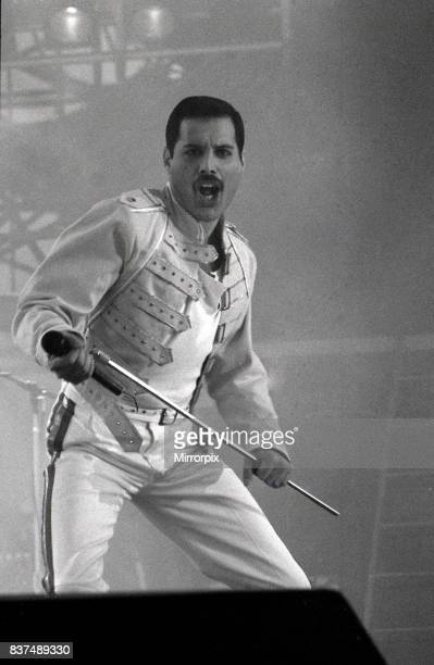Queen Rock Group Freddie Mercury Brian May John Deacon Roger Taylor Queen in concert at St James Park in Newcastle