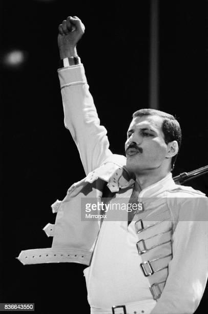 Queen Rock Group Freddie mercury Queen in concert at Wembley Stadium London Freddie Mercury 1980s