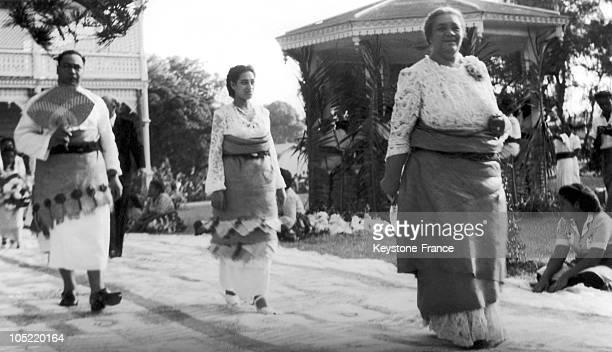 Queen Salote Tupou Iii Of Tonga Preceding Her Son Prince Taufa'Ahau Tupou Iv And His Wife Princess Halaevalu Mata' Aho 'Ahome'E From The Royal Chapel...