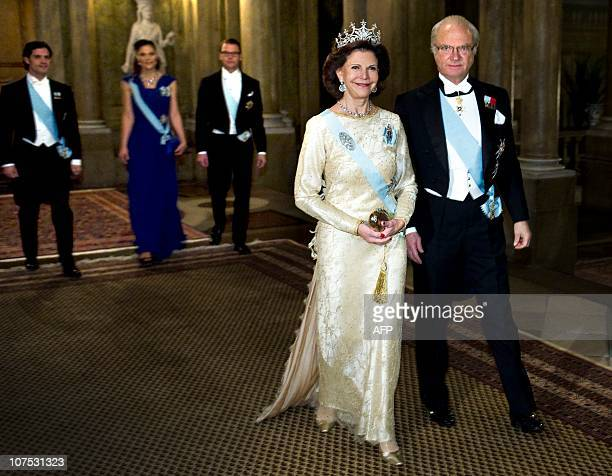 Queen Silvia and King Carl Gustaf arrive with Prince Carl Philip , Crown Princess Victoria and prince Daniel at The King's dinner for the Nobel...