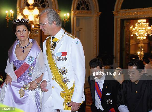 Queen Silvia and King Carl Gustav of Sweden and Prince Alois of Leichtenstein and Prince Jigme Khesar Namgyel Wangchuck of Bhutan arrive to attend...