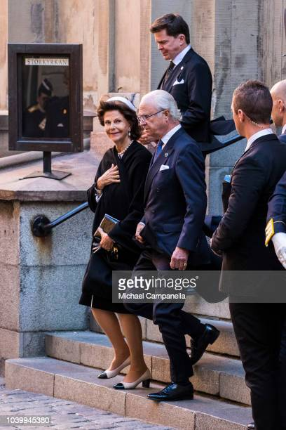 Queen Silvia and King Carl XVI Gustaf of Sweden attend a church service at the Stockholm Cathedral in connection with the opening of the Swedish...