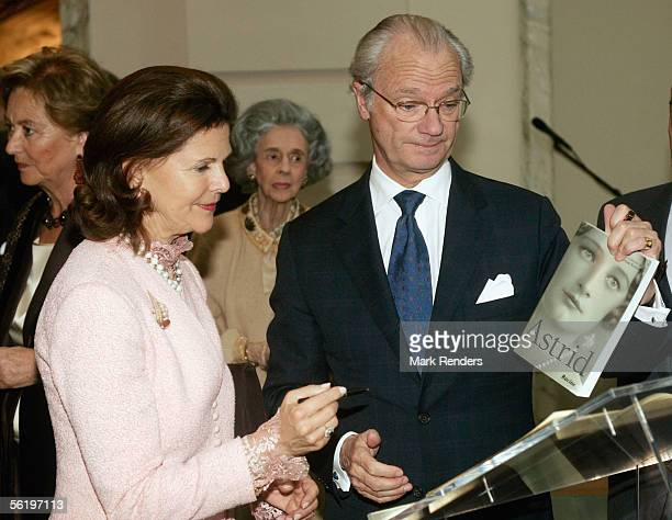 Queen Silvia and King Carl XVI Gustaf of Sweden attend the opening of an exhibition celebrating 100 years since Queen Astrid's birth BelVue Museum on...