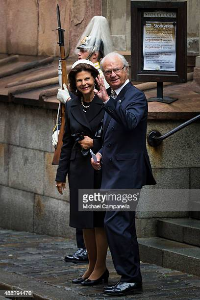 Queen Silvia and King Carl XVI Gustaf of Sweden depart after attending service at the Church of St Nicholas in connection with the opening of the...