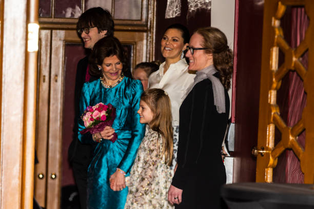 Queen Silvia Crown Princess Victoria and Princess Estelle of Sweden attend a concert hosted by Lilla Akademien a music school for children at Vasa...
