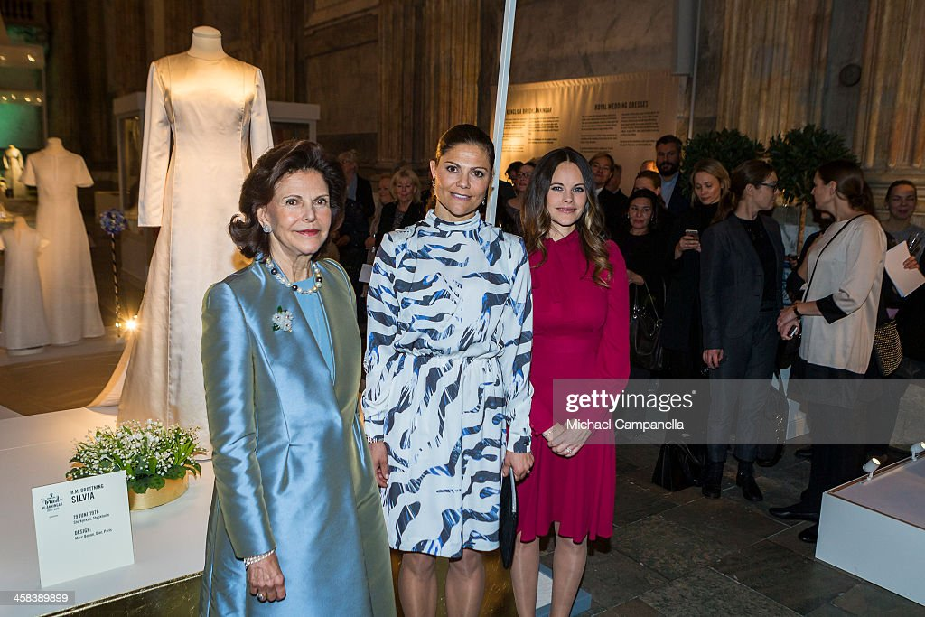 Queen Silvia, Crown Princess Victoria, and Princess Sofia of Sweden attend an exhibition of royal wedding dresses at the Royal Palace on October 17, 2016 in Stockholm, Sweden.