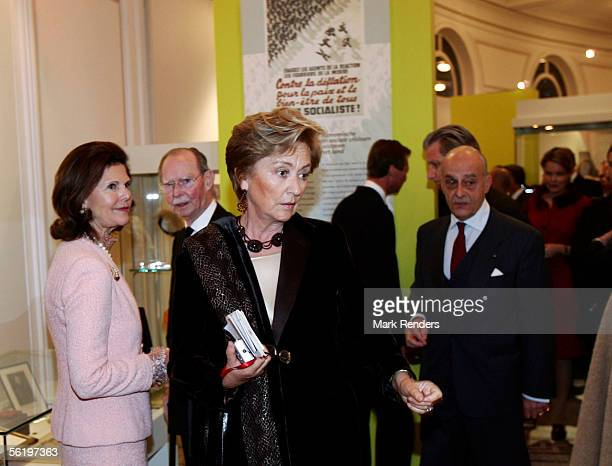 Queen Silvia from Sweden old Grand Duke of Luxembourg Jean and Queen Paola attend the opening of an exhibition celebrating 100 years since Queen...