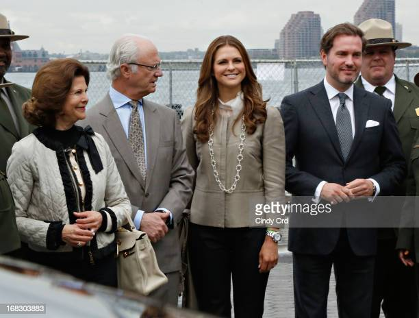Queen Silvia King Carl XVI Gustaf and Princess Madeleine of Sweden joined by Princess Madeleine's fiance Chris O'Neill at 'The Castle Clinton' in...