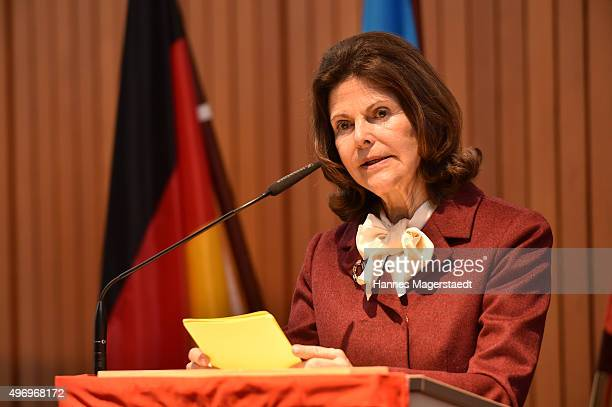 Queen Silvia od Sweden during the visit of the Swedish Queen to Silviahemmet's day centre on November 13 2015 in Munich Germany