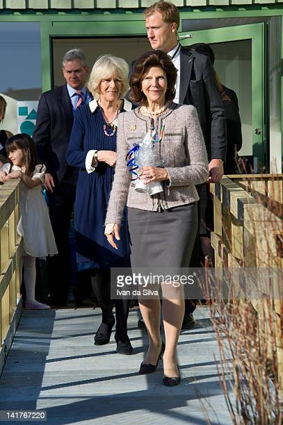 Queen Silvia of Sweden and Camilla Duchess of Cornwall visit the British International Primary School on March 23 2012 in Stockholm Sweden Prince...