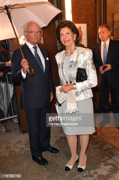Queen Silvia of Sweden and Carl XVI Gustaf of Sweden arrive for the Wiener Philharmoniker playing Mozart at Salzburg Festival 2019 at Grosses...