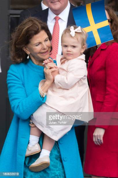 Queen Silvia of Sweden and her grandaughter Princess Estelle of Sweden attend the city of Stockholm's celebrations for King Carl Gustaf's 40th...