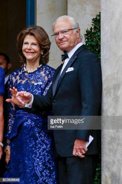 Queen Silvia of Sweden and her husband Carl XVI Gustaf King of Sweden attends the Bayreuth Festival 2017 Opening on July 25 2017 in Bayreuth Germany