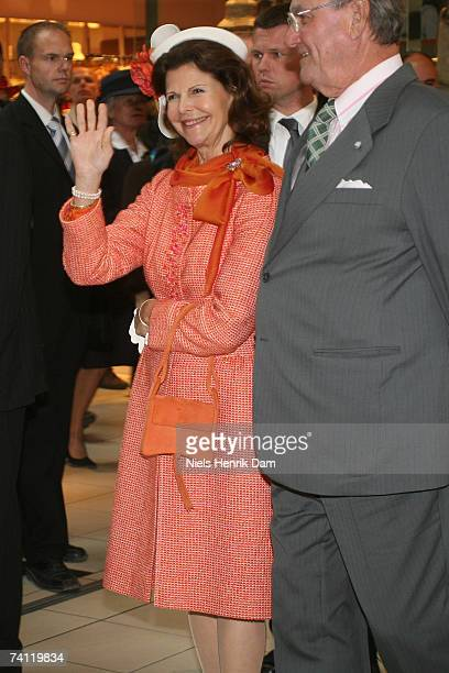 Queen Silvia of Sweden and HRH Prince Consort Henrik of Denmark visit Field's Scandinavia's largest shopping centre on May 10 2007 in Copenhagen...