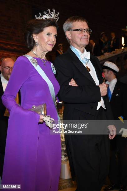 Queen Silvia of Sweden and Joachim Frank laureate of the Nobel Prize in chemistry attend the Nobel Prize Banquet 2017 at City Hall on December 10...