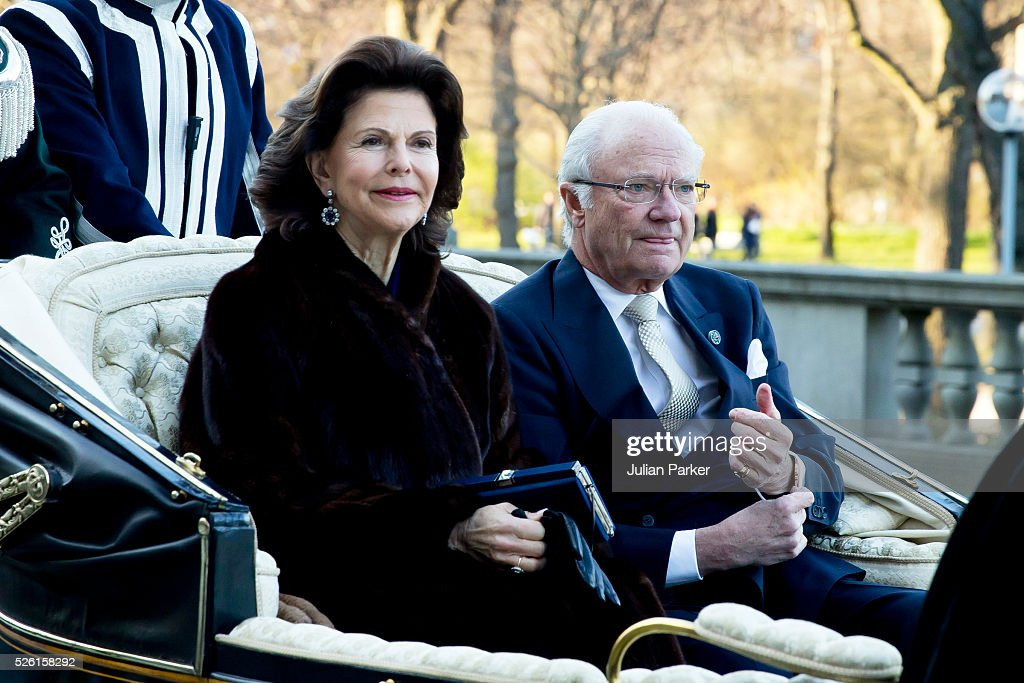 Queen Silvia of Sweden, and King Carl Gustaf of Sweden, arrive for a Concert at the Nordic Museum, on the eve of King Carl Gustaf of Sweden's 70th Birthday, given by The Royal Swedish Opera, and The Stockholm Concert Hall, on April 29, 2016, in Stockholm, Sweden.