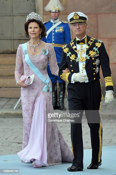 Queen Silvia of Sweden and King Carl Gustaf of Sweden attend the wedding of Crown Princess Victoria of Sweden and Daniel Westling on June 19 2010 in...