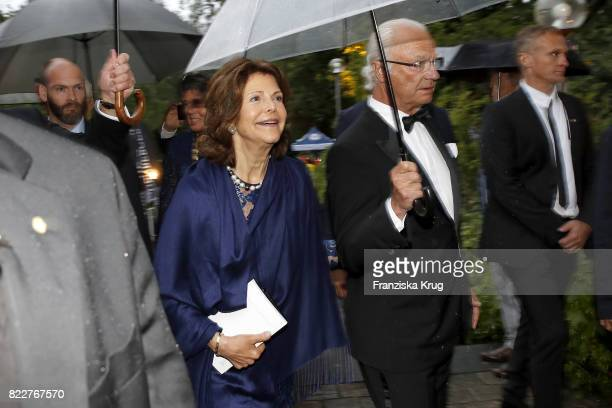 Queen Silvia of Sweden and King Carl XVI Gustaf attend the Bayreuth Festival 2017 Opening on July 25 2017 in Bayreuth Germany