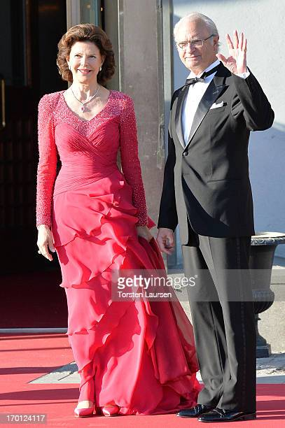 Queen Silvia of Sweden and King Carl XVI Gustaf of Sweden arrive at a private dinner on the eve of the wedding of Princess Madeleine and Christopher...