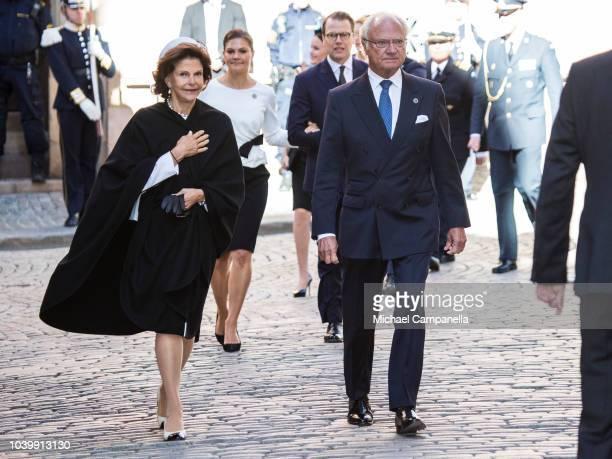Queen Silvia of Sweden and King Carl XVI Gustaf of Sweden attend a church service at the Stockholm Cathedral in connection with the opening of the...