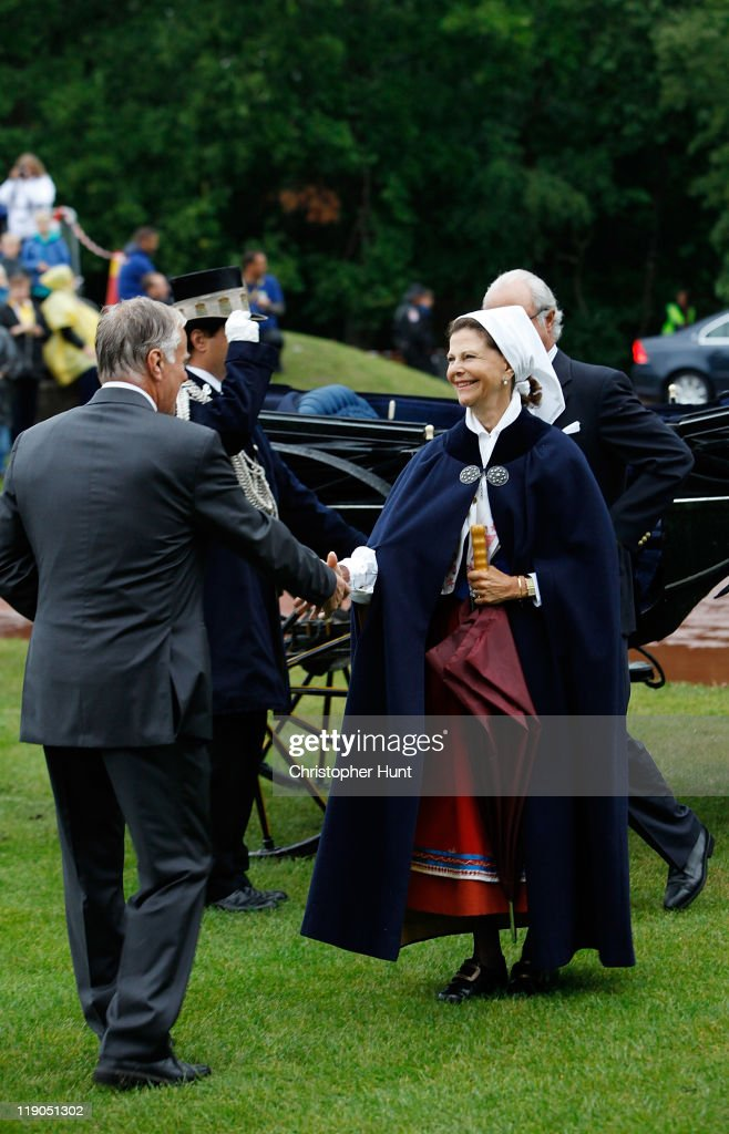 Queen Silvia of Sweden and King Carl XVI Gustaf of Sweden attend an event celebrating Crown Princess Victoria's 34th birthday at Borgholm's Idrottsplats on July 14, 2011 in Borgholm, Sweden.