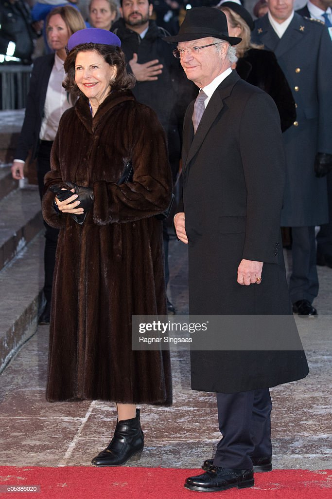 Queen Silvia of Sweden and King Carl XVI Gustaf of Sweden attend the 25th anniversary of King Harald V and Queen Sonja of Norway as monarchs on January 17, 2016 in Oslo, Norway.