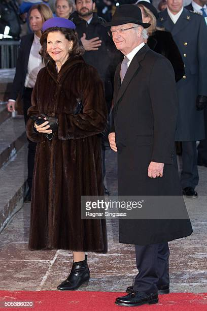Queen Silvia of Sweden and King Carl XVI Gustaf of Sweden attend the 25th anniversary of King Harald V and Queen Sonja of Norway as monarchs on...