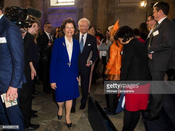 Queen Silvia of Sweden and King Carl XVI Gustaf of Sweden attend the Global Child Forum 2018 at the Stockholm Palace on April 11, 2018 in Stockholm,...