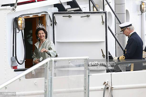 Queen Silvia of Sweden and King Carl XVI Gustaf of Sweden depart for travel by a boat to Drottningholm Palace for dinner after the wedding ceremony...