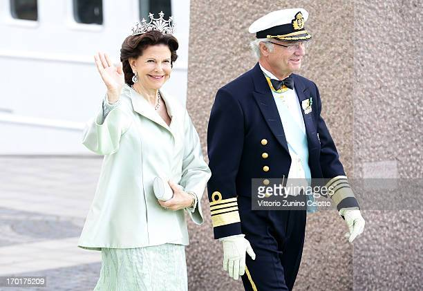 Queen Silvia of Sweden and King Carl XVI Gustaf of Sweden depart fort a travel by boat to Drottningholm Palace for dinner after the wedding ceremony...