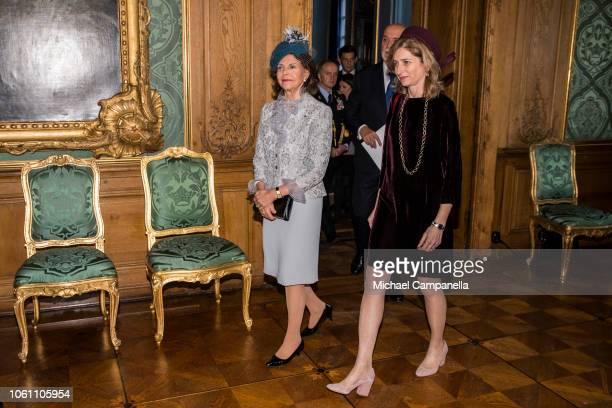 Queen Silvia of Sweden and Laura Mattarella daughter of Italian President Sergio Mattarella arrive for a press conference at the Stockholm Royal...
