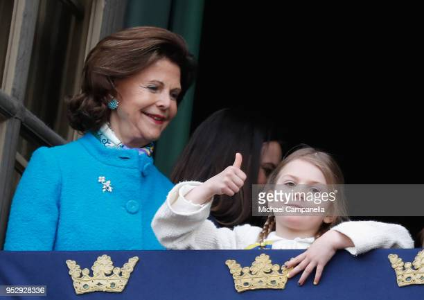 Queen Silvia of Sweden and Princess Estelle Duchess of Ostergotland attend a celebration of King Carl Gustav's 72nd birthday anniversary at the Royal...