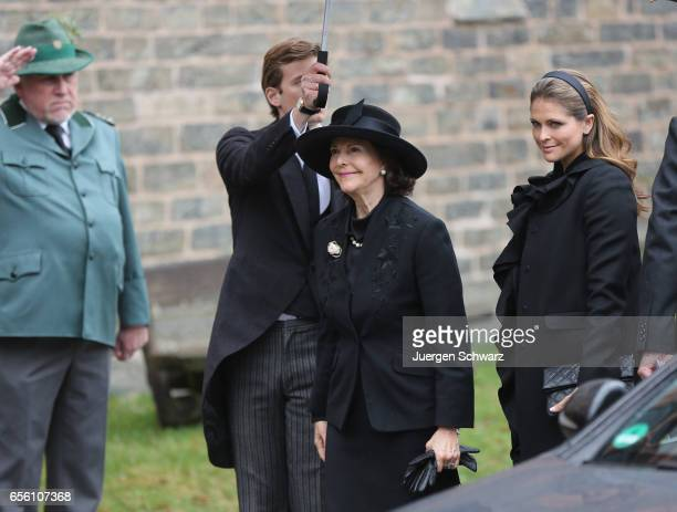 Queen Silvia of Sweden and Princess Madeleine arrive at the funeral service for the deceased Prince Richard of SaynWittgensteinBerleburg at the...