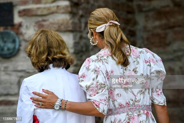 Queen Silvia of Sweden and Princess Madeleine of Sweden are seen on the occasion of The Crown Princess Victoria of Sweden's 44th birthday...