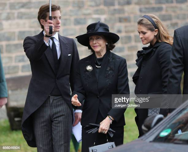 Queen Silvia of Sweden and Princess Madeleine of Sweden arrive at the funeral service for the deceased Prince Richard of SaynWittgensteinBerleburg at...