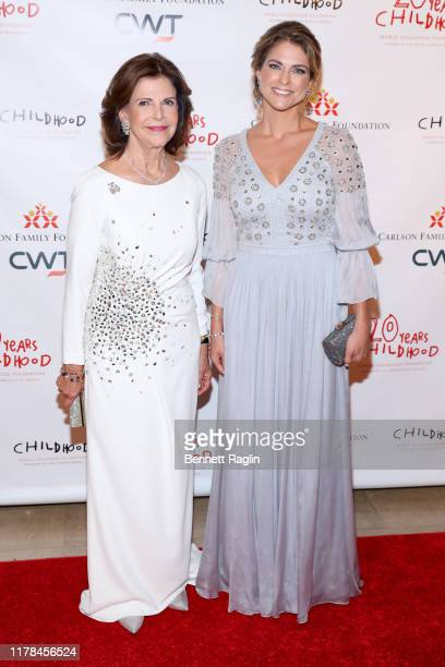Queen Silvia of Sweden and Princess Madeleine of Sweden attend the World Childhood Foundation USA's 20th Anniversary Thank You Gala 2019 at the Plaza...