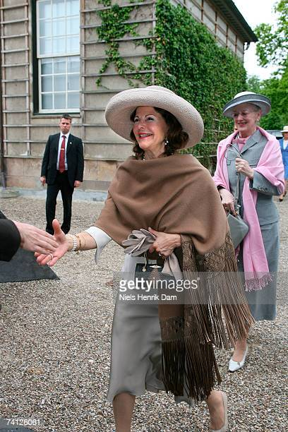 Queen Silvia of Sweden and Queen Margrethe II of Denmark arrive at the Ordrupgaard Museum in Charlottenlund on May 11 2007 near Copenhagen Sweden...