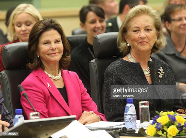 Queen Silvia of Sweden and Queen Paola of Belgium attend the European Conference against Human Traffic at Palais d'Egmont on October 19 2009 in...