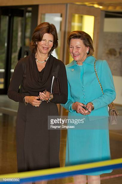 Queen Silvia of Sweden and Queen Sonja of Norway attend Voksenasen Hotel's 50th anniversary at Voksenasen Hotel on October 1 2010 in Oslo Norway
