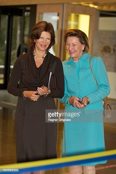 Queen Silvia of Sweden and Queen Sonja of Norway attend Voksenasen Hotel's 50th anniversary at Voksenasen Hotel on October 1 2010 in Oslo Norway