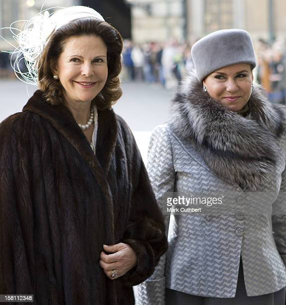Queen Silvia Of Sweden And The Grand Duchess Maria Theresa Of Luxembourg Arrive At The Royal Palace In Stockholm, During The Luxembourg State Visit...