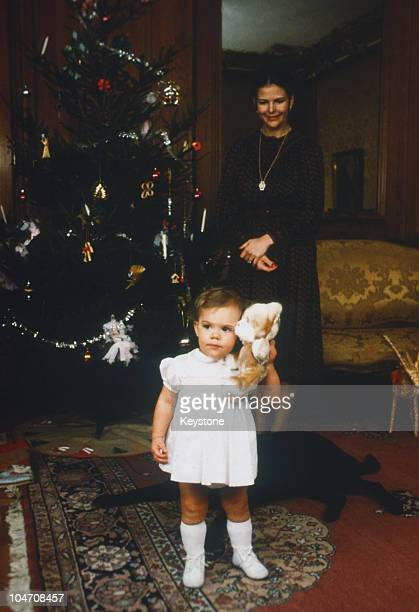 Queen Silvia of Sweden and young Princess Victoria celebrate Christmas at the Royal Palace in Stockholm in December 1978