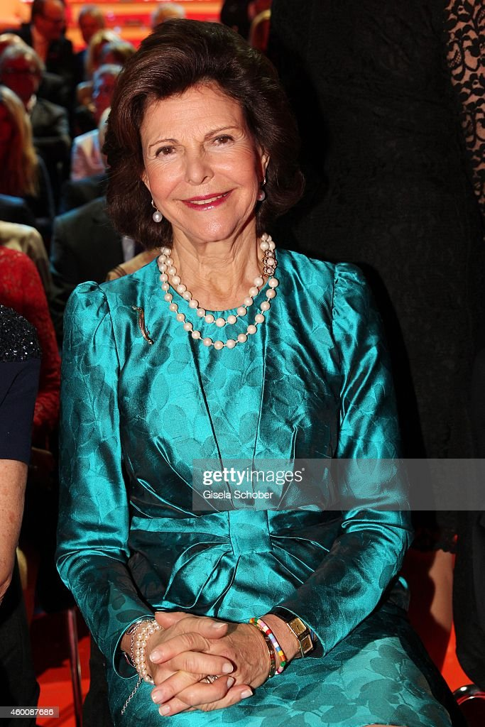 Queen Silvia of Sweden arrives at the Ein Herz fuer Kinder Gala 2014 at Tempelhof Airport on December 6, 2014 in Berlin, Germany.