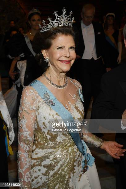 Queen Silvia of Sweden arrives at the Nobel Prize Banquet 2018 at City Hall on December 10 2019 in Stockholm Sweden